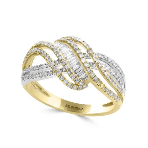 Effy Jewelry Diamond Crossover Ring in 14K White & Yellow Gold, 0.71 TWC Size- 7