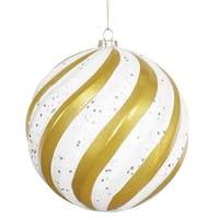 Vickerman M112075 Gold-White Matte-Glitter Swirl Ball Ornament - 6 in.