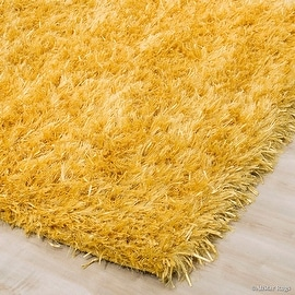 Allstar Yellow Hand-knotted High-End Dual-Type Polyester Yarn Luxury shaggy area Rug with extra-long pile (5' x 7')