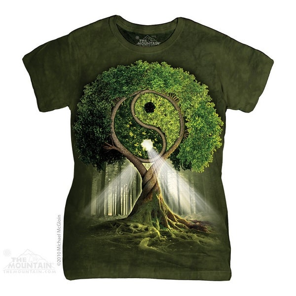 The Mountain Cotton Yin Yang Tree Design Novelty Womens T-Shirt