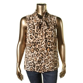 Vince Camuto Womens Animal Print Sleeveless Button-Down Top