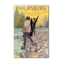 Philipsburg, MT - Women Fly Fishing - LP Artwork (Acrylic Wall Clock) - acrylic wall clock