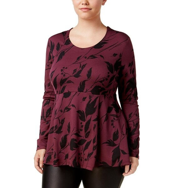 4097d91a237fc Melissa McCarthy Seven7 Womens Plus Peplum Top Printed Long Sleeves - 1X