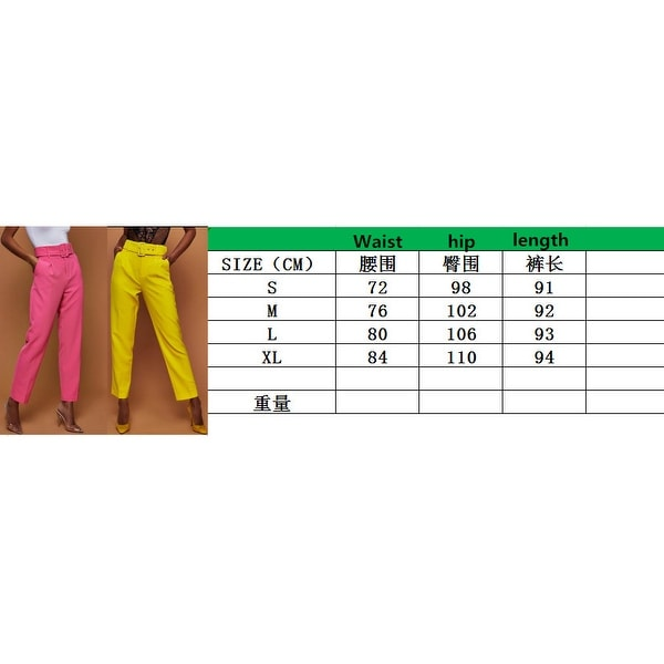 New Ladies Casual Pants High Waist Solid Color Nine Pants. Opens flyout.