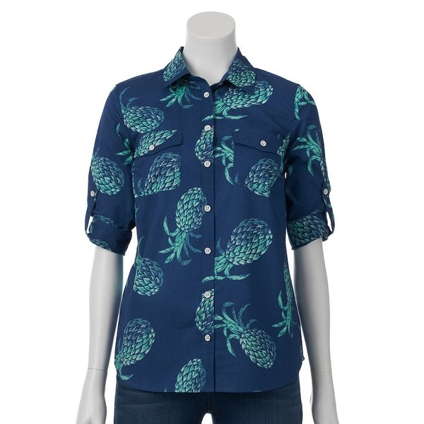 01e35c22f11 SONOMA Life + Style Women's Button-Up Roll-Tab Shirt Top - Pineapple Blue
