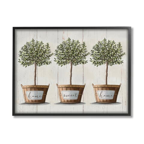 Stupell Industries Young Fruit Trees Charming Baskets Home Sweet Home Framed Wall Art - Grey