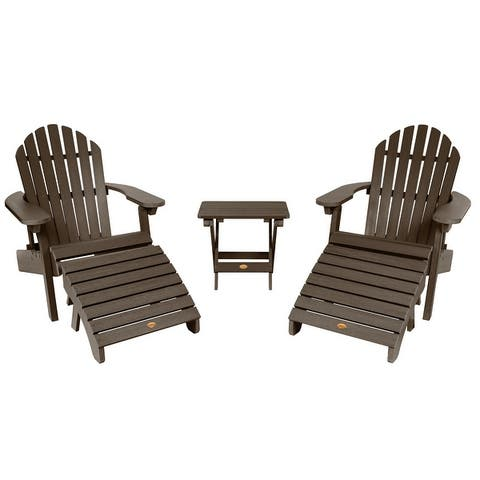 Yorkville 2 Reclining Adirondack Chairs with Matching Ottomans and Folding Side Table by Havenside Home
