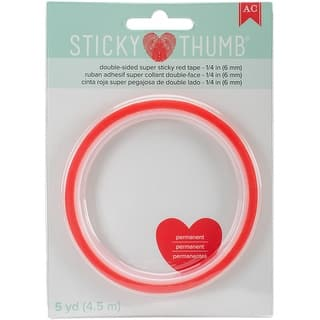"""Sticky Thumb Double-Sided Super Sticky Red Tape-.25""""X5yd