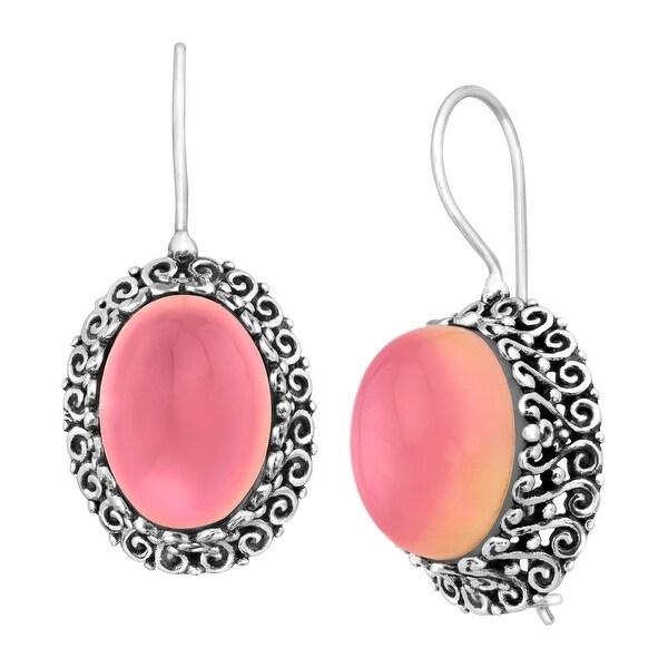 Sajen Selenite Drop Earrings in Sterling Silver - Pink