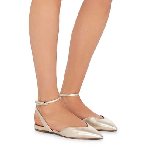Tabitha Simmons Vera Champagne Metallic Flats Size 40