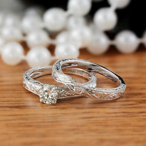Ethical Sparkle 1/2ctw Vintage Diamond Engagement Ring Set