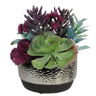 "8"" Potted Purple and Green Artificial Succulent Arrangement - N/A"
