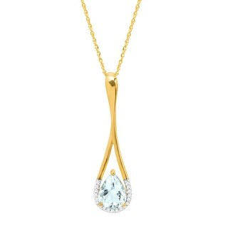 1 1/3 ct Natural Aquamarine Teardrop Pendant with Diamonds in 10K Gold - Blue