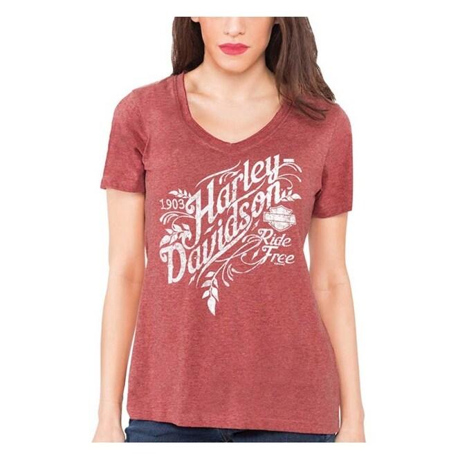 Harley-Davidson Womens Distressed H-D V-Neck Short Sleeve Tee Red Wash