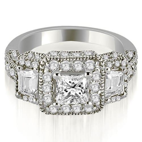 2.00 cttw. 14K White Gold 3-Stone Princess & Trapezoid Diamond Engagement Ring