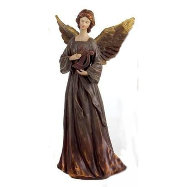 "14.5"" Nature's Glow Brown Musician Angel with Lyre Table Top Christmas Figure"
