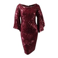 Betsy & Adam Women's Plus Size Sequined Bell-Sleeve Dress (16W, Red) - Red - 16W