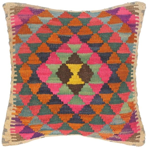 Bohemian Catarina Hand-Woven Turkish Kilim Throw Pillow. Opens flyout.