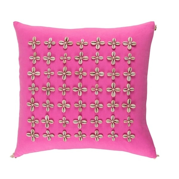 20 Pin Cushion Cherry Blossom Pink And Beige Woven Decorative Throw Pillow