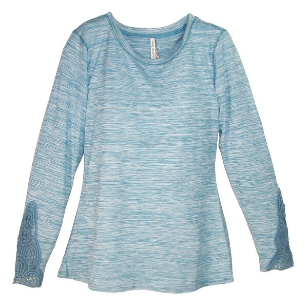 Pajama Drama Women's Crochet Trim Long Sleeve Crew Neck Shirt