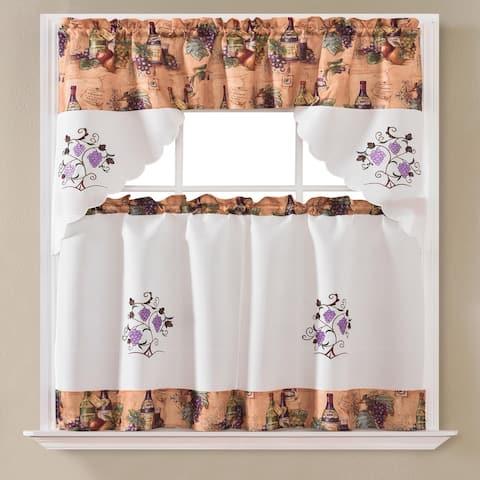 Urban Grape Printed & Embroidered Kitchen Curtain Set