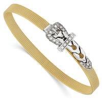 Italian 14k Two-Tone Gold CZ Buckle Bracelet - 7 inches