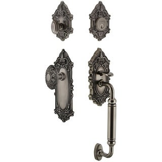 """Grandeur GVCGVC_ESET_234_CG  Grande Victorian Solid Brass Rose Keyed Entry Single Cylinder Sectional """"C"""" Grip Handleset with"""