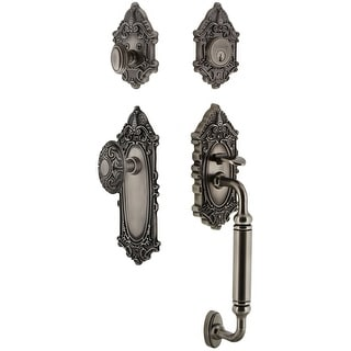"""Grandeur GVCGVC_ESET_238_CG  Grande Victorian Solid Brass Rose Keyed Entry Single Cylinder Sectional """"C"""" Grip Handleset with"""