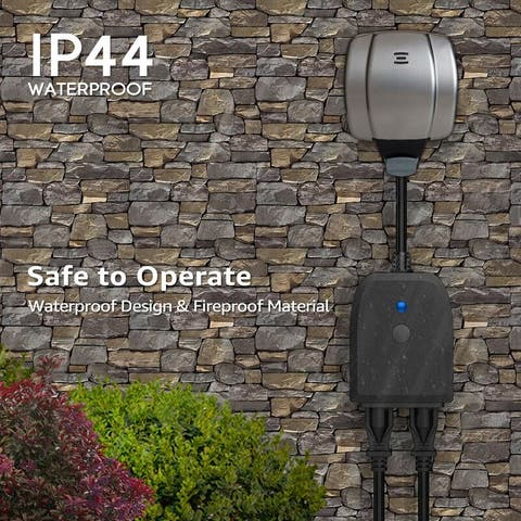2-in-1 Outdoor Smart Plug, Compatible with Google Home & Alexa, WiFi Outdoor Plug Power Outlet