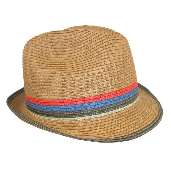 Broner Men  x27 s Paper Braid Fedora Hat with Colorful Striped Pattern 8aca27391fe