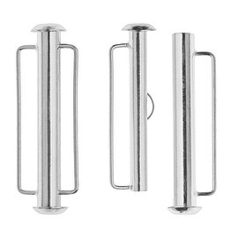 Slide Tube Clasps, with Bar Loops 31.5x10.5mm, 2 Pieces, Silver Plated