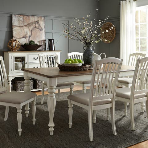 The Gray Barn Arctic Arrow Nutmeg and White 7-piece Rectangular Table Set