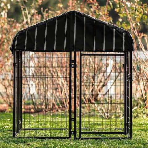 Lucky Dog Pet Resort Kennel w/ Cover - Black