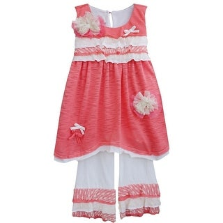 Isobella & Chloe Baby Girls Coral Carnation Kisses Two Piece Pant Set 3M-24M