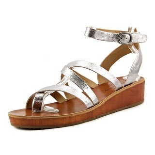 Lucky Brand Honeyy Women Open Toe Leather Silver Gladiator Sandal