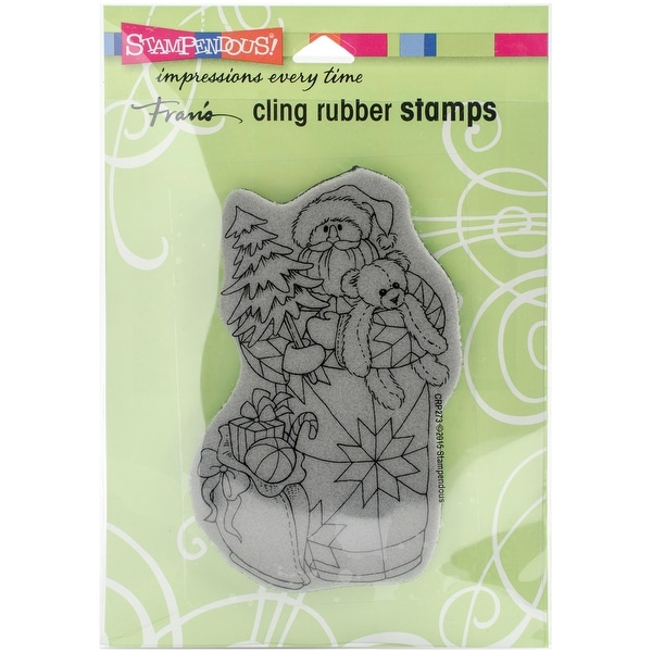 """Stampendous Cling Stamp 4.75""""X4.5""""-Quilted Santa"""