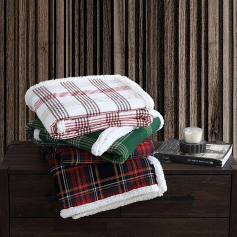 Eddie Bauer Printed Flannel/Sherpa Reversible Throw Blanket