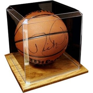 Basketball unsigned Display Case with Wood Base