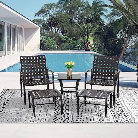 Futzca 5 Pieces Patio Furniture Set Outdoor Wicker Rattan Sectional 4 Seats Patio Dining Chairs With Ottoman - N/A