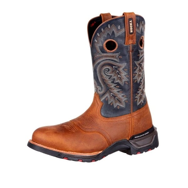 Rocky Western Boots Mens Pull On Full Grain Leather Brown
