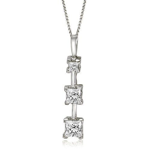 1.00 cttw. 14K White Gold Three-Stone Princess Cut Diamond Pendant