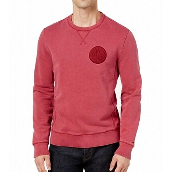 shop tommy hilfiger red patch logo mens size large l crewneck