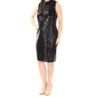 Womens Black Sleeveless Knee Length Sheath Cocktail Dress Size: M