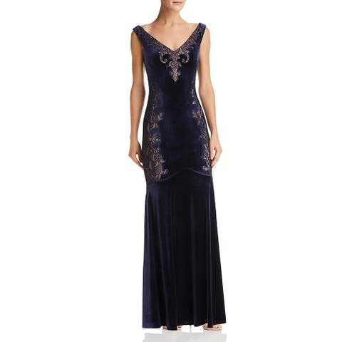BCBG Max Azria Womens Special Occasion Dress Velvet Lace - Dark Navy