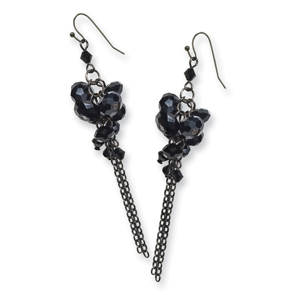 Black IP Black Crystal Circle Drop Earrings