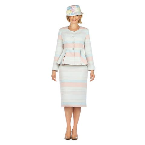 Giovanna Collection 2pc Color-Block Piped Brocade Peplum Skirt Suit