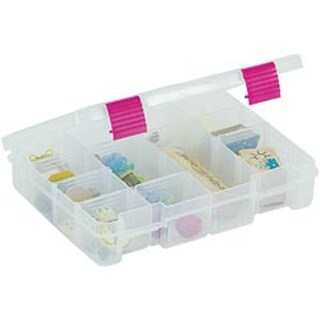 """9""""X7""""X2"""" Clear/Magenta Creative Options Pro Latch Utility Box 4-16 Compartments"""