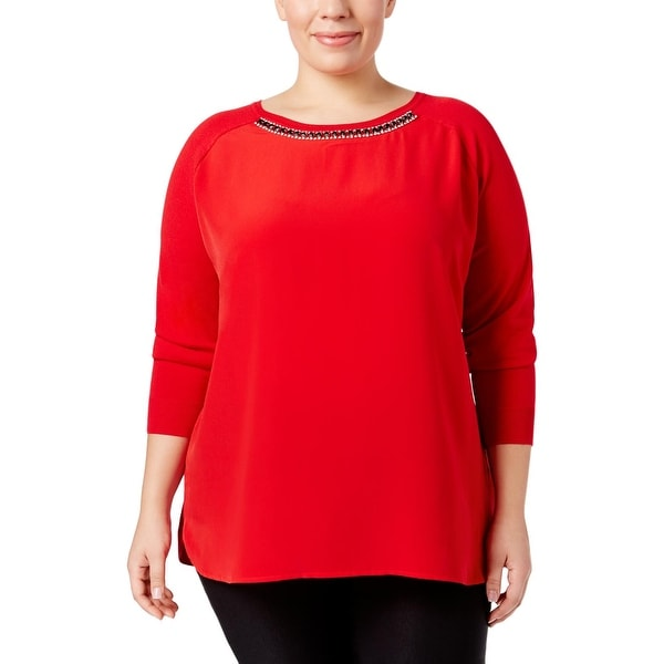 Calvin Klein Womens Plus Tunic Sweater Embellished 3/4 Sleeves