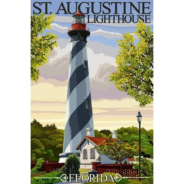St. Augustine, FL Lighthouse - LP Artwork (100% Cotton Towel Absorbent)