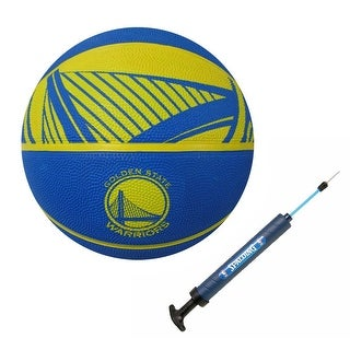 "Spalding NBA Golden State Warriors Full Size Basketball with12"" Dual Action Pump"